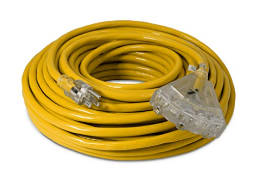 100-ft 12/3 Heavy Duty 3-Outlet Lighted SJTW Indoor/Outdoor Extension Cord by Watt's Wire - Long Yellow 100' 12-Gauge Grounded 15-Amp Three-Prong Power-Cord (100 foot 12-Awg)