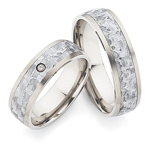 123traumringe Eheringe/Trauringe mit 1 Brillant in Titan/graues Carbon (Brillant/Gravur/Ringmaßband/Etui) in Juwelier-Qualitä