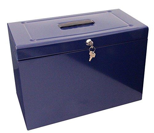 Caja archivadora de metal, tamaño folio, color azul -