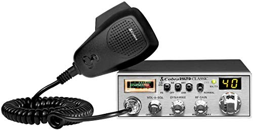Cobra 25LTD Professional CB Radio - Emergency Radio, Travel Essentials, Instant Channel 9, 4 Watt Output, Full 40 Channels, 9 Foot Cord, 4 Pin Connector