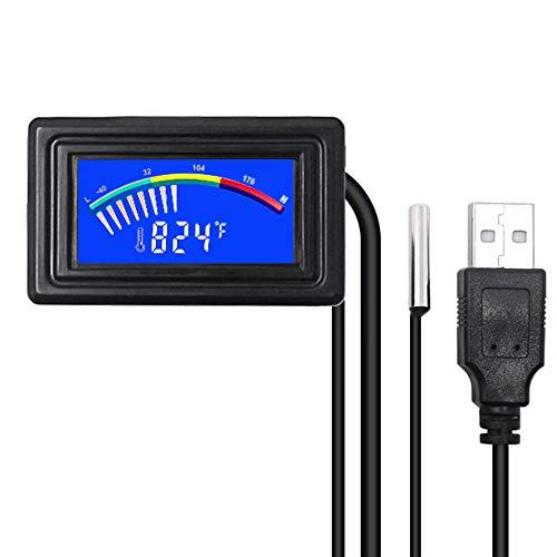 KETOTEK Digital Thermometer Temperature Meter Gauge Waterproof Sensor Probe Aquarium Car PC case Power Bank Temp Meter Celsius/Fahrenheit LCD Display °C/°F PC MOD (Digital Thermometer with USB)