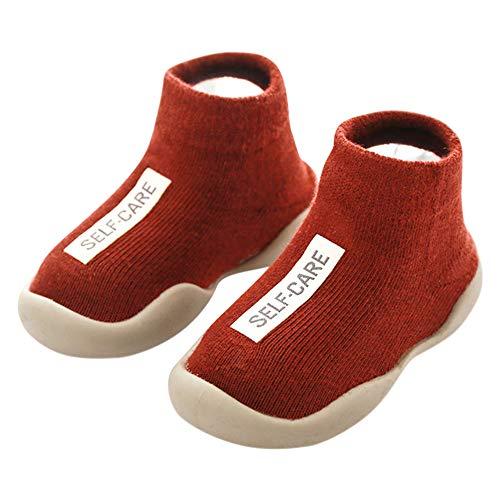 ANIMQUE Kinder Anti Rutsch Socken Schuhe Babyschuhe rutschfeste Sohle Lauflernschuhe Krabbelschuhe Weich Bequem 22/23 EU, Burgund (MB)