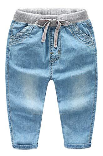 QZH.DUAO Unisex Kids Holes Denim Pants Jeans, Soft Elastic Waist Ripped Tencel Jeans for Boys Girls, Light Blue, US 4T = Tag 110