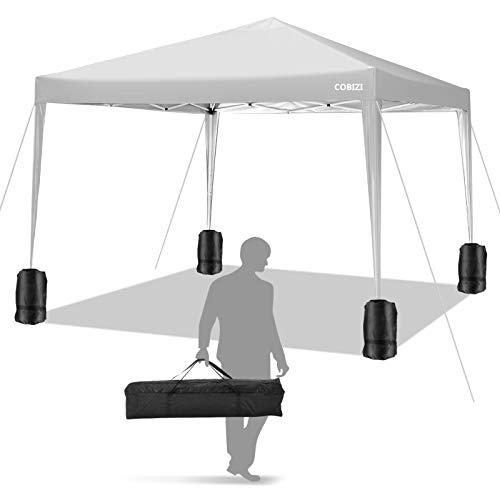 COBIZI Cenador plegable de 3 x 3, carpa impermeable con bolsa de transporte, 4 bolsas de peso, 8 estacas y 4 cuerdas (blanco)
