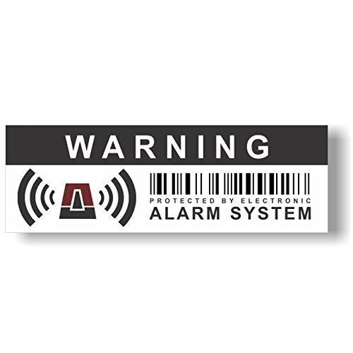 12 x Seguridad Alarma señal de Advertencia Pegatinas - 10,5 x 3,5 cm