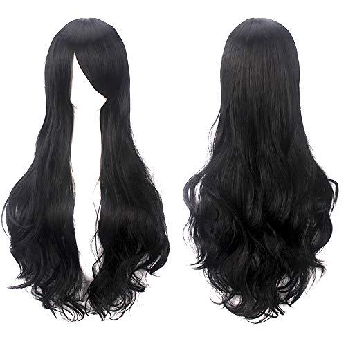 """32 """"Peluca de pelo negro rizado largo con flequillo de flequillo Anime Cosplay disfraz de Halloween pelucas sintéticas para mujeres niñas"""