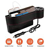 Mookis Car Seat Gap Filler, PU Leather Car Seat Gap Organizer with 2 Lighters, 2 Fast Charging USB Port,Organize Your Odds and Ends for Easy Driving