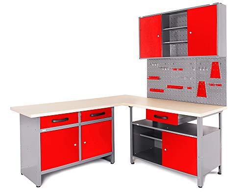 Ondis24 Werkstatt Ecklösung Basic One, 180 cm breit, 2x Werkbank, 1x Werkzeugschrank, Metall, abschließbar, 3x Werkzeugwand - Lochwand, 1x Haken Set (Arbeitshöhe 85 cm, rot)