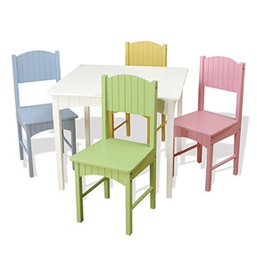 KidKraft Nantucket Kid's Wooden Table & 4 Chairs Set with Wainscoting Detail - Pastel
