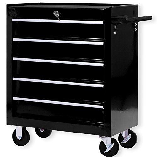 Masko® Werkstattwagen – 5 Schubladen, schwarz ✓ Abschließbar ✓ Massives Metall | Mobiler Werkzeug-Wagen ohne Werkzeug | Profi Werkstatt-Wagen | Rollwagen zur Werkzeugaufbewahrung mit Schloss | - 5