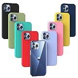 Oududianzi - 9X Cover Compatibile con iPhone 12 / iPhone 12 PRO, Custodia Morbida Opaca in Silicone TPU [ Trasparente + Nero + Rosa + Blu Scuro + Rosso + Verde Menta + Giallo + Verde + Viola ]