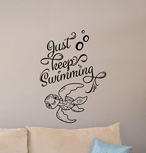 Just Keep Swimming Wall Decal Finding Nemo Turtle Squirt Poster Sign Bathroom Quote Disney Vinyl Sticker Gift Decor Playroom Wall - Made in USA-Fast delivery