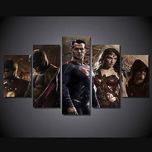 13Tdfc Cuadro En Lienzo, Imagen Impresión, Pintura Decoración, Canvas De 5 Pieza, 150X80 Cm,Película De Batma Vs Superman Mural Moderno Decor Hogareña