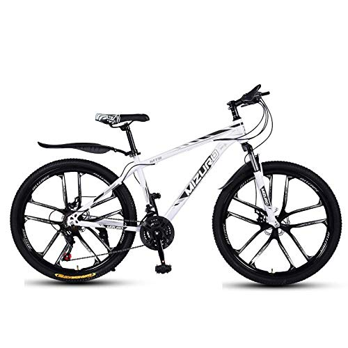 DGAGD Mountain bike 24 inch double disc brake variable speed light bicycle ten cutter wheels-White black_24 speed
