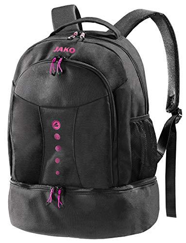schwarzer Rucksack mit Akzenten in Fuchsia, Striker von Jako - Das Platzwunder ist der ideale Wanderrucksack, Schultasche oder Aktentasche - Dieser Freizeitrucksack passt Immer