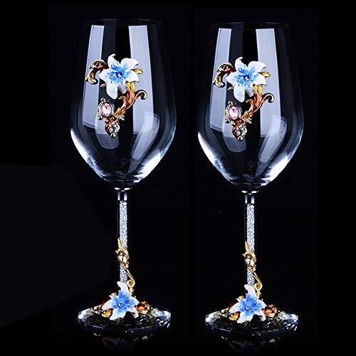 Copas De Agua Kits De Copas De Vino Tinto De Cristal Copa De Tuba Copa De Vino Traje De Regalo Para Recién Casados Vodka Copa Alta Whisky,Azul,470 Ml