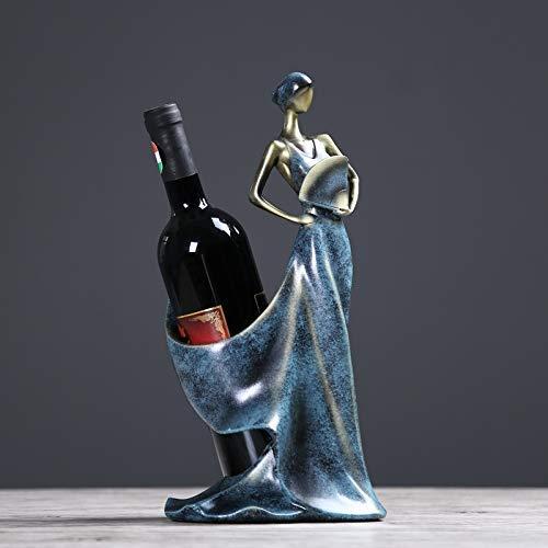 Equipo Vino Estilo Chino Belleza Señora Estatua Vino Tinto Botellero Resina Ornamental Vino Decoración Barware Regalo Artesanía Accesorios Mobiliario Bambú (Color: MUL