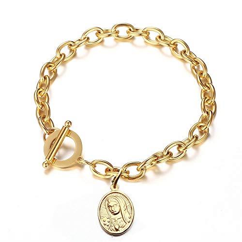 Pulsera De Acero Inoxidable Virgen María Mmedal Para Mujer, Pulsera De Metal De Color Dorado, Medalla Virgen María