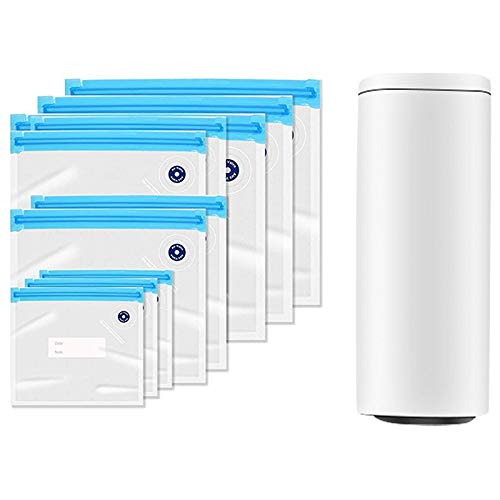 ADDFOO Sellador al VacíO PortáTil, Bomba de VacíO AutomáTica Recargable USB Bolsas Sellador al VacíO de Alimentos Reutilizables para Almacenamiento de Alimentos