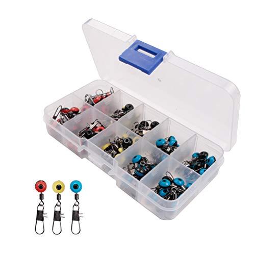 LINONI 100 unidades/caja espacial de frijoles de pesca, conector de flotador, giratorio, suministros de pesca, herramienta para aparejos de pesca con caja de almacenamiento