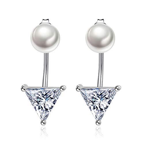 YFZCLYZAXET Pendientes Mujer Pendientes De Perlas De Cristal De Circón Pendientes Triangulares Geométricos De Personalidad Temperamento para Mujer