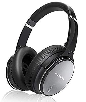FITFORT Active Noise Cancelling Headphones - [2020 Upgraded] Bluetooth 5.0 Headphones Over Ear with HiFi Deep Bass and Memory Ear Pad, Support Wireless and Wired for Air Travel from Fitfort