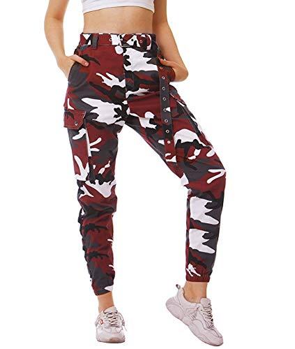 NEWISTAR Pantalones de camuflaje para mujer, con cinturón multibolsillos, estilo militar y relajado para ocio y entrenamiento, rojo, S