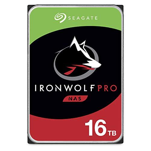 Seagate IronWolf Pro 16 TB, NAS, Disco duro interno, HDD, CMR 3,5' SATA 6 Gb/s, caché 128 MB, almacenamiento RAID, servicio de recuperación de datos, Paquete Abre-fácil (ST16000NEZ00)