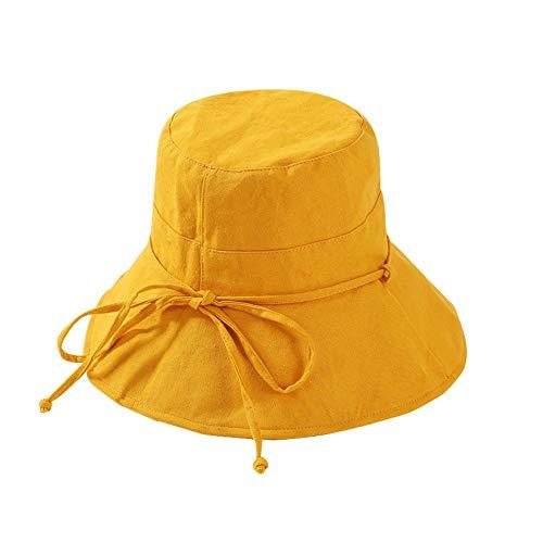 Sombrero del Sol de Las Mujeres Sombrero del Sol del Verano de ala Ancha Plegable Sombrero del Cubo del algodón de Las señoras Sombrero de la Playa Flojo (A Amarillo)