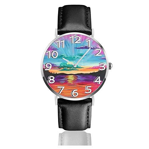 Reloj de Pulsera Hermosos paisajes Montañas Ríos Correa de Cuero sintético Duradero Relojes de Negocios de Cuarzo Reloj de Pulsera Informal Unisex