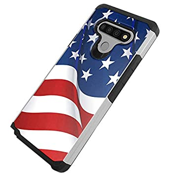 DALUX Hybrid Slim Phone Case Compatible with LG Stylo 6 / Stylo 6 Plus - New Waving Half US Flag