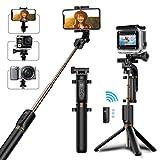 Bovon Perche Selfie Trépied, Bluetooth Selfie Stick Monopode Extensible avec Télécommande, 360° Rotable Bâton de Selfie pour...