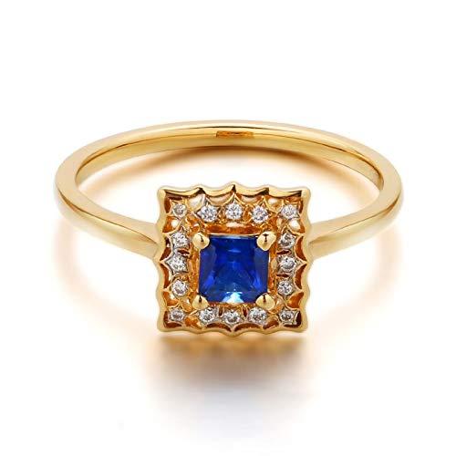 Daesar Anillo Compromiso Mujer,Anillo Compromiso Mujer Oro 18K Cuadrado Zafiro Azul 0.398ct Diamante Blanco 0.06ct Talla 22