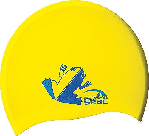 SEAC JR, Cuffia Nuoto da Piscina in Silicone Unisex Bambini, Giallo, Small