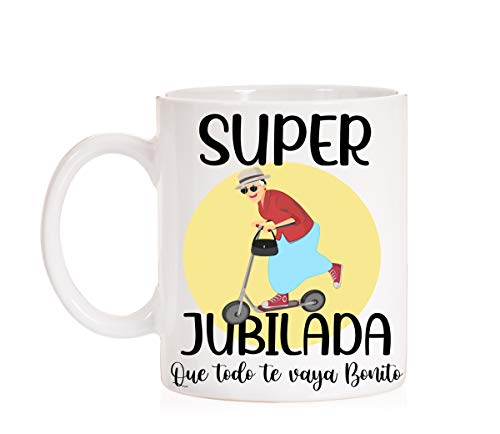 FUNNY CUP Taza Super Jubilada. Regalo para jubilaciones de Trabajadores, Detalle Gracioso Taza para jubliaciones, felicitaciones, homenajes, Detalles
