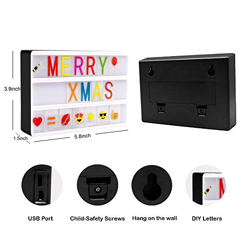 Cinema Light Box- Magnetic Led Light Box with 160 Letters Numbers and Symbols-Customized Your Own Message for Home Decoration/Wedding/Birthday Parties (Mini A6(5.8x3.9x1.5inch))