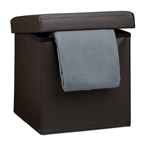 pouf contenitore marrone Relaxdays Sgabello