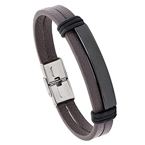 SJHFG Pulseras de cuero negro para hombre Pulsera simple de acero inoxidable joyería masculina, cuero marrón + negro