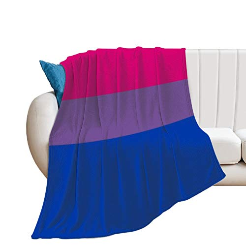 Bisexual Pride Flag Flannel Blanket Comfort Velvet Touch Ultra Plush, Novelty Soft Throw Blankets fit Couch Sofa Bedspread Coverlet Bed Cover 60'×80'