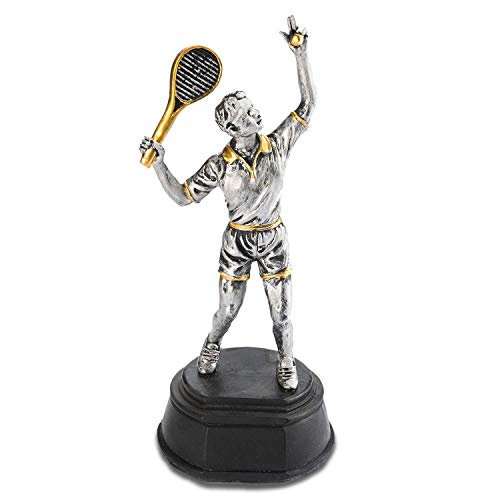 GOODS+GADGETS Tennis-Pokal - Sieger-Statue Sieges-Trophäe Siegerehrung 25cm aufwendig modelliert & handbemalt(Sieger Statue - Tennis)