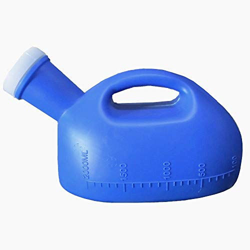 YUMSUM 2000ML Male Urinal Portable Mens Potty Pee Bottle Collector Travel Toliet Blue