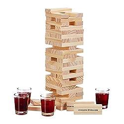 """Relaxdays Wackelturm Trinkspiel """"Drunken Tower"""", Holzturm 60 Steine, 4 Schnapsgläser, Partyspiel für Erwachsene, natur"""