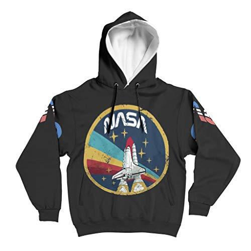 YxueSond Mens Oversized Hoodie NASA Stars Longsleeve Langarm Kapuzenpullover Sweatjacke Für Männer White l