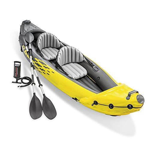 HARUONE Kayak Inflable Set 2-Persona, para Trabajo Pesado PVC Barco Pesca para Adultos, Deportes Acuáticos Divertido Aire Libre En Tándem Canoa Raft Drift, con Aluminio Remos Y Bomba Aire