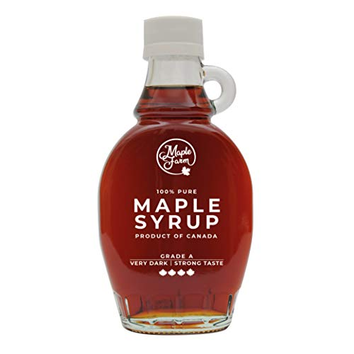 MapleFarm - Puro sciroppo d'acero Canadese Grado A (Very Dark, Strong taste) - Bottiglia 189 ml (250 g) - Pure maple syrup - Puro succo d'acero