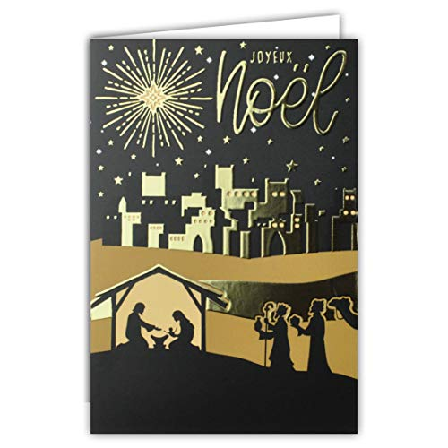 """Karte """"Joyeux Noël 25, Dezember, Geburt, Jesus von Nazareth Marie Joseph Silhouette, Sternenhimmel, christliche Nacht, religiös, goldfarben"""