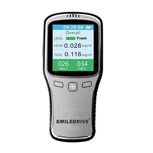 SMILEDRIVE® Portable Air Quality Pollution Meter with Color Graphic Display-Check PM 2.5/10, TVOC & HCHO Levels for Indoor Outdoor Use
