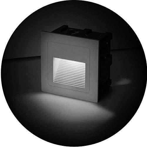 Topmo-plus conjunto de 4 LED luz del piso 3W Lámpara de vestíbulo Escalera al aire libre Iluminación de caminos luz hacia abajo Exterior Interior impermeable IP65 6 x 6 x 4,6 CM Blanco frío 6000K