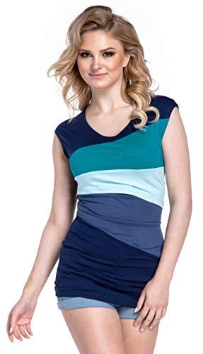 HAPPY MAMA. Damen Still Umstands-Top Lagendesign Farbblock-Design Ärmellos. 369p (Wasser & Hellblau, 40, L)