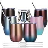 Zonegrace - Juego de 6 vasos de vino de acero inoxidable con doble pared aislada al vacío con tapas, juego de 6, paquete de regalo para café, vino, cócteles, helado